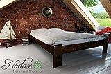 "New wooden solid pine bedframe ""F15"" with sturdy plywood slats (135 x 190 cm, walnut)"
