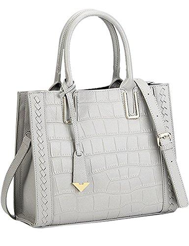 2129100389296 Menschwear Grau Damen Elegant Echtes Leder Taschen Handtasche UzqSpGMV