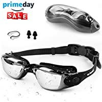 Swimming Goggles Adult Children Mens - Zerhunt Black Mirror Swim Goggles Anti Fog with UV Protection No Leaking with Nose Clip and Earplugs, Designed for Adults and Kids over 10 Years Old