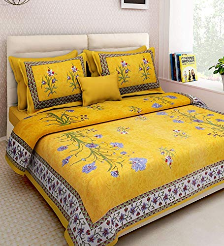 Ealth Kart 144 TC 100% Cotton Rajasthani Jaipuri Traditional King Size Double Bedsheet with 2 Pillow Covers - Yellow