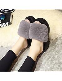 mhgao Ladies Casual zapatillas de lana en el interior para mantener caliente en otoño y invierno ante zapatillas, 6, 38