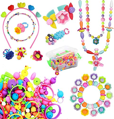 BLAZOR Schmuck Basteln Mädchen Kit, Spielzeug Mädchen 3 4 5 6 7 8 9 10Jahre , Mädchen kreative Idee Halsketten/Armbänder/Ringe/Armbänder, .Geburtstag / Party
