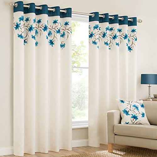Plain faux silk look eyelet ring top teal blue cream brown fully lined curtains lily flowers floral leaves 66×90 inches 168cmx229cm drop eyelet ring top ready made