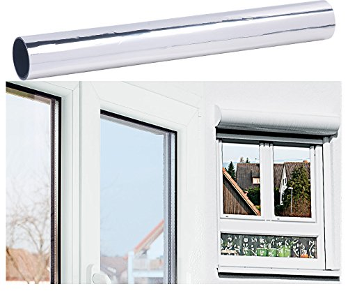 infactory Sonnenschutzfolie: Selbsthaftende Isolier-Spiegelfolie mit Sicht-/UV-Schutz, 40 x 200 cm (Blendschutzfolie)