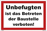 Kleberio® Warn Schild 30 x 20 cm - Unbefugten ist das Betreten der Baustelle verboten! - Baustellenschild stabile Aluminiumverbundplatte