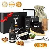 Kit de Soins de Barbe 8 pcs,Brosse en Soies Poils de Sanglier Naturel, Peigne, Huile a barbe, Baume Cire Pommade
