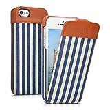 kalibri Cover Emma per Apple iPhone SE / 5 / 5S - Custodia libro in vera pelle e tessuto Flip cover protettiva case per cellulare Design righe