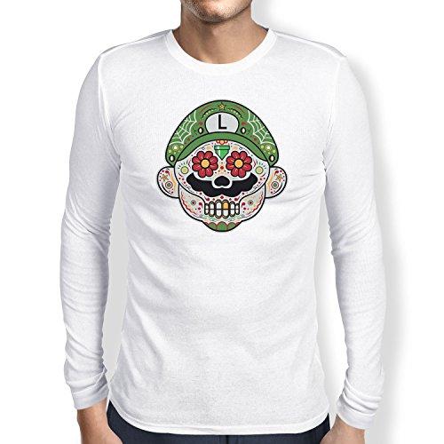 i - Herren Langarm T-Shirt, Größe S, weiß (Super Mario Maker Luigi Kostüm)