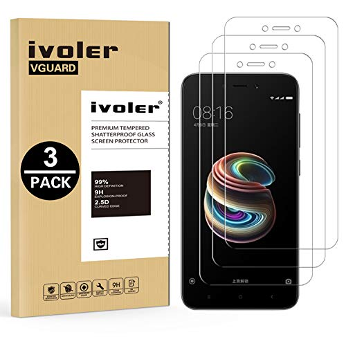 iVoler [3 Unidades] Protector de Pantalla para Xiaomi Redmi 5A, Cristal Vidrio Templado Premium