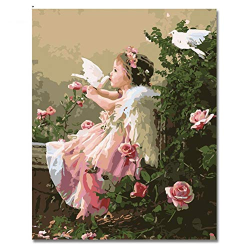 GKJRKGVF Mädchen-Engels-Ölgemälde durch Zahl DIY Digital-Friedenstauben-und Blumen-Bilder, die durch Zahl für dekorative Hauptkunst zeichnen -