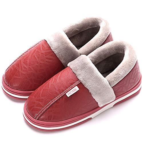 Mujer Invierno Zapatillas de Estar casa Cerradas Calienta Pantuflas Termicas Zapatos Slippers(Rojo,36/37 EU,23.5CM De talón a Dedo del pie