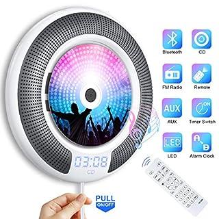 Gueray Tragbarer CD Player Wandmontage mit Bluetooth und HiFi Lautsprecher LED-Display die Heim-Audio-Boombox mit Fernbedienung Unterstützt FM-Radio MP3 USB mit 3,5 mm Kopfhöreranschluss für Kinder