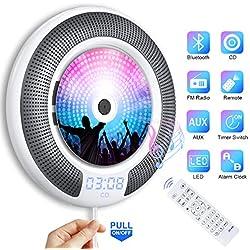 Gueray Lecteur CD Portable Bluetooth Mural Haut-Parleur HiFi Intégré Lecteur CD Montage avec Port Audio DE 3,5 mm Clé USB et Audio AUX Entrée