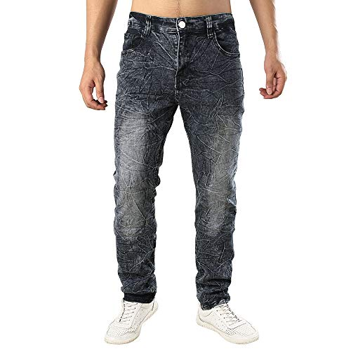 Mymyguoe Jeans Hose Herren Lässige Straight Leg Laufhose Denim Wasserwäsche Used Look Freizeithose Denim Used Design Sweatpants Männer Stylische Fitness Trainingshose Sporthose Jeanshosen - Denim-look Leder