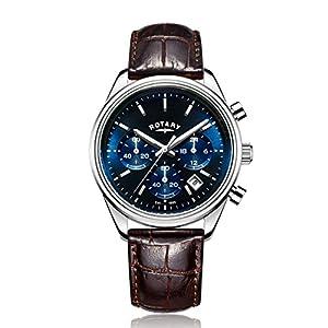 Rotary - Reloj de cuarzo para hombre, correa de cuero, color marrón de Rotary