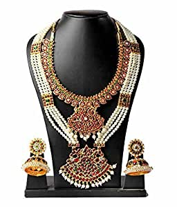 Goldencollections Multi-Colour Gold-Plated Bharatanatyam Jewellery For Women