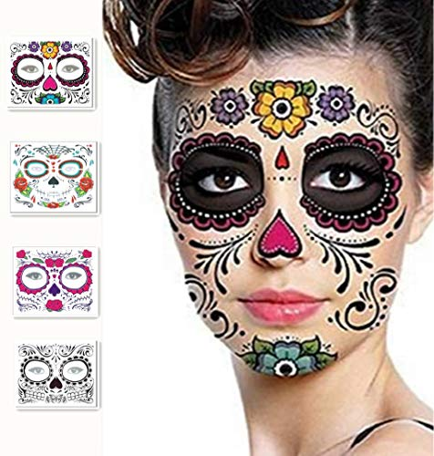 SurDarry Tattoo Aufkleber,Halloween Masken Temporäre Tattoos Gesicht Tattoo Aufkleber 4 Stück Day of The Dead Entfernbar Halloween (Pinsel Mit Tod Kostüm)