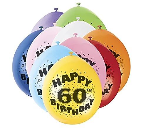 22,9 cm Latex Ballons, Happy Birthday sortiert 10 Stück