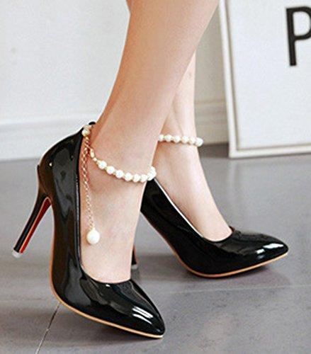 Aisun Femme Mode Couleur Unie Bride Cheville Escarpins Noir