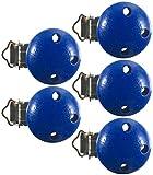 Schnullerclip 5x Clips blau Holz schadstofffrei Nuckelclip Baby Clip