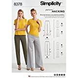 Semplicità modello 8378–Pantaloni sportivi da donna con gamba con larghezze e opzioni per modelli Hacking, carta, bianco, 22x 15x 1cm