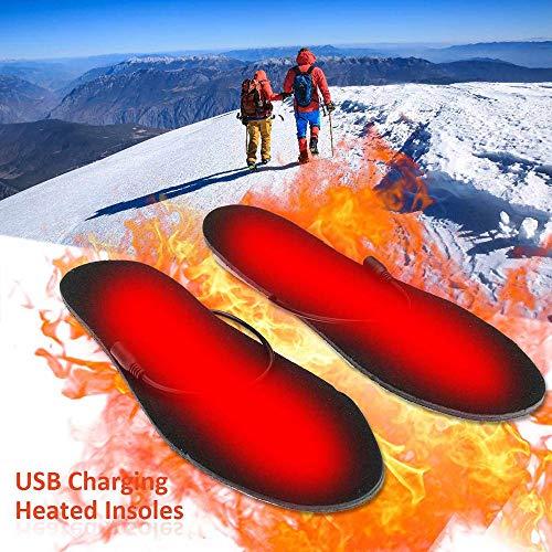 MAOMAOQUEENss Elektrische Beheizte Einlegesohlen Winter MäNner Frauen Erhitzt Schuh EinsäTze Aufgeladen Einlegesohlen FüR Schuhe Boot Warme Socken USB Ladekabel Winter Skifahren Jagen,B -