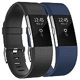 Tobfit Fitbit Charge 2 Bracelet Sangle Réglables Sport Accessorie Replacement Band pour Fitbit Charge 2 Fitness Wristband (Small,Classique 2-Pack Noir+Bleu)