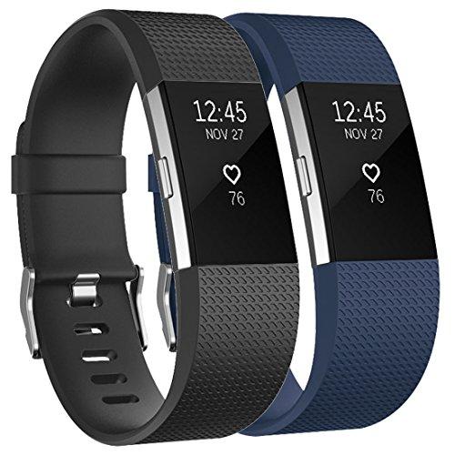 Tobfit Fitbit Charge 2 Armbänd Verstellbare Weiches Silikon Sport Ersatz Armband für Fitbit Charge 2 (Klassische und Special Edition) (Large, Klassische 2-Pack Schwarz+Blau)