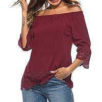 Ropa Camisetas Mujer, Camisas Mujer Verano Elegantes Off Shoulder Hole Hollow Out Casual Tallas Grandes Camisetas Mujer Manga Corta Camiseta Blusas Tops para Mujer Fiesta en la Playa