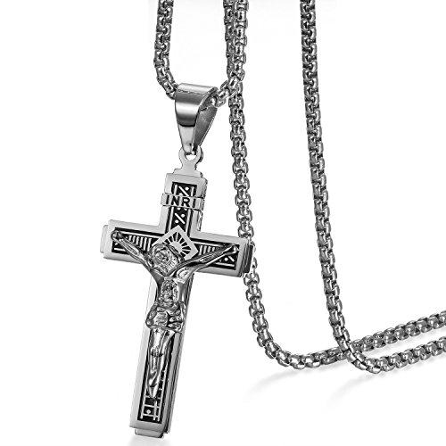 Cupimatch Kreuz Halskette Herren Jesus Kruzifix Kette mit Anhänger Edelstahl Hals Schmuck für Männer Jungen 56cm, Silber