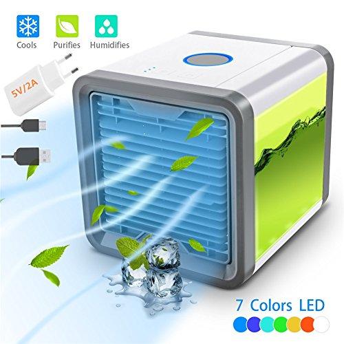 Nifogo Climatizador Evaporativo - Aire Acondicionado Portátil, 3-en-1 Mini Ventilador Humidificador Purificador de Aire USB Aire Acondicionado [Sin Freón] para Casa/Oficina/Camper/Garaje