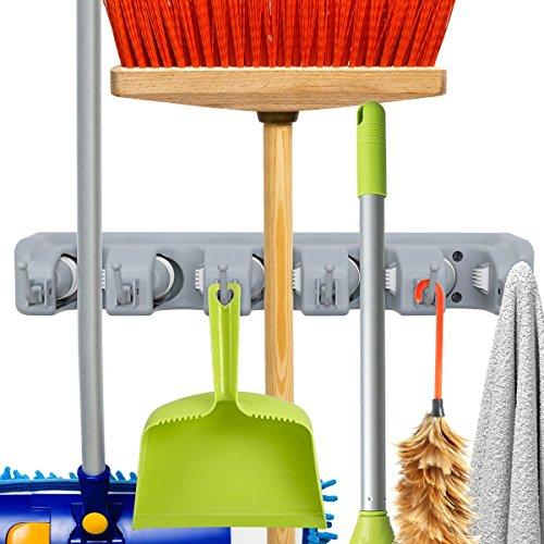 Portascopa,mop hanger, portascopa da muro attrezzi 5 posti e 6 ganci supporto per scopa e spazzolone robusto salvaspazio, per garage, cucina, cantina, rastrelli da giardino.