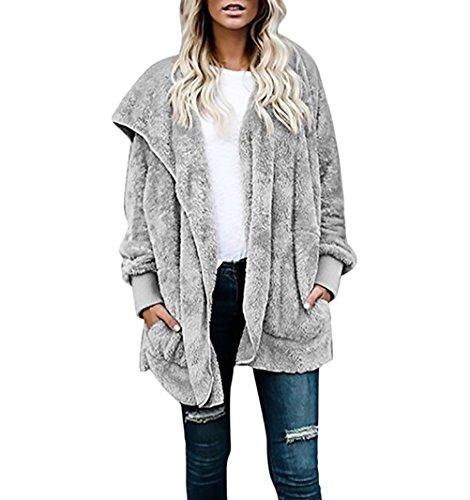 Donna giacca con cappuccio invernali autunno elegante vintage giubbotto manica lunga in finta giovane grazioso pelliccia warm caldo peloso cappotto casual larga comode cappotti parka giacche women