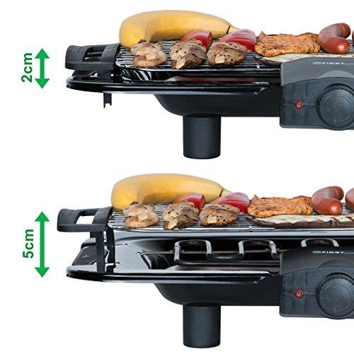 2000 Watt Elektro Grill mit Temperaturregler und Wärmereflektor Gartengrill mit Standfüßen Grillfläche: 45cm x 22cm Inklusive Windfang Barbecue Elektrisch BBQ Tischgrill