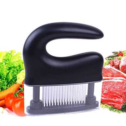 Pnteibo carne di martello, lama a 48 poli carne tenera martello carne tenero ago automatico a rimbalzo acciaio inox per cucina varie carni nero bianco,a