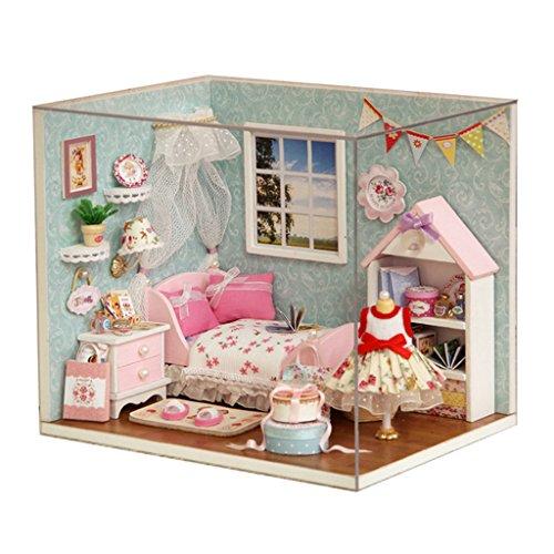 Preisvergleich Produktbild Gazechimp LED Miniatur Puppenhaus Puppenstube Puppenmöbel Puppenzimmer Holz DIY Kit mit Abdeckung und Licht Spielzeug für Kinder ab 12 Jahre - # C