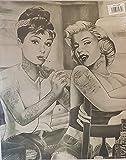 MARILYN MONROE & Audrey Hepburn Body Art Tattoo Studio gedehnt & montiert Leinwand Kunstdruck Marke New