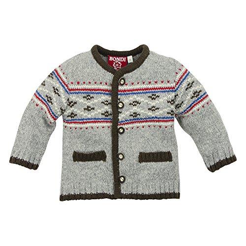BONDI Strickjacke ´Gipfelkraxler´, grey-melange 74 Tracht Baby Jungs Artikel-Nr.90712
