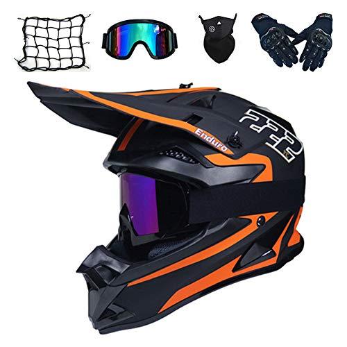 MRDEAR Set da Casco MTB Integrale Uomo Adulto Motocross Casco Downhill con Occhiali/Guanti/Mascherina/Rete Ragno Elastica, Arancia Nera,M