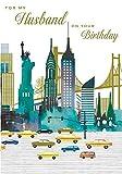 Ehemann Geburtstag Karte (nq-dr449–New York Bild–aus der Reihe Pizazz–Foiled.