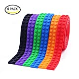 6 Packs Lego Compatible Tape Roll and Nimuno Loops Compatible Toy Building Block,With 3M Self Adhesive Strips (multicolor)