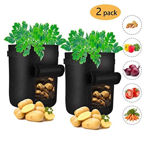 APERIL Pflanzen Tasche, Kartoffel Pflanzsack, Dauerhaft AtmungsaktivBeutel mit Fenster/Klettverschluss/Tragegriffen,2er Pack