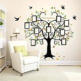 Herzförmige Fotorahmen Baum Wandaufkleber (Abnehmbar, Wasserdicht, Grün) für Wohnzimmer Schlafzimmer Büro Wohnheim Hintergrund Dekoration,Schwarz