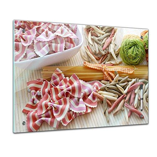 Memoboard - 60 x 40 cm, Essen und Trinken - Italienische Nudeln - Glasboard Glastafel Magnettafel Memotafel Pinnwand Schreibtafel - Nudel - Farfalle - Penne - Gericht - Vegetarisch - bunt - Italien - kochen - Italienische Küche - Küchenbild - Esszimmer - Zitronenbild - Motiv - Design - Art