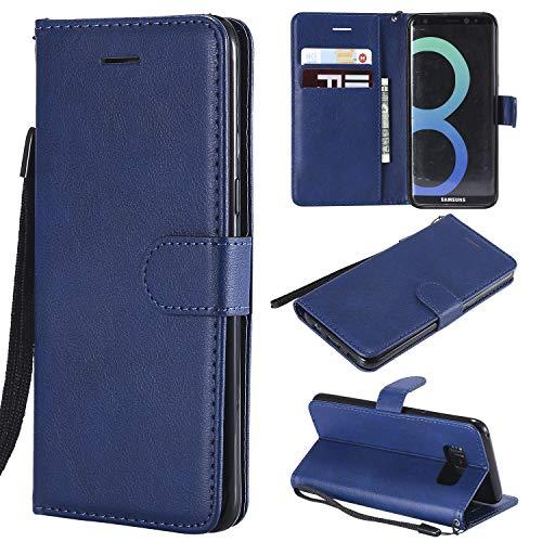 Artfeel Flip Brieftasche Hülle für Samsung Galaxy S8, Premium PU Leder Handyhülle mit Kartenhalter,Retro Bookstyle Stand Abdeckung mit Magnetverschluss Handschlaufe Hülle-Blau -