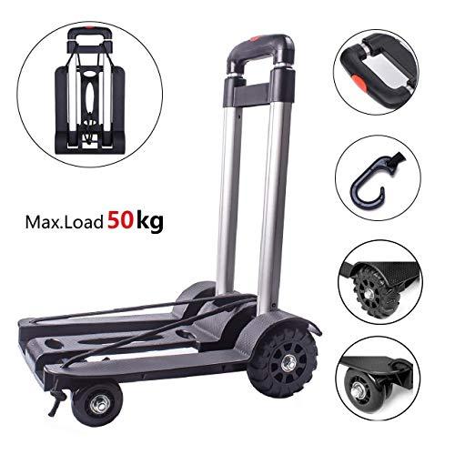 Carrello mano pieghevole Trolley pieghevole Capacità 50kg Carrello di utilità costruzioni solide 4 ruote per bagagli uso personale da viaggio auto