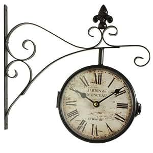 horloge de gare ancienne double face jardin de monceau. Black Bedroom Furniture Sets. Home Design Ideas