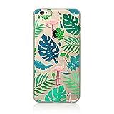 SecondDromi Süßes Flamingo und Monstera Muster weich (TPU) hülle für iphone 5S,für iPhone SE,Grün