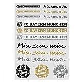 FC Bayern München Aufkleber, Sticker, Aufkleberkarte Schriftzug & Logo 15er Set - Plus gratis Lesezeichen I Love München