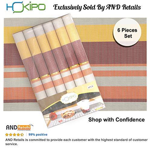 HOKIPO PVC Kitchen Placemats, Plastic, Multicolour, 45x30cm (6 Pieces)